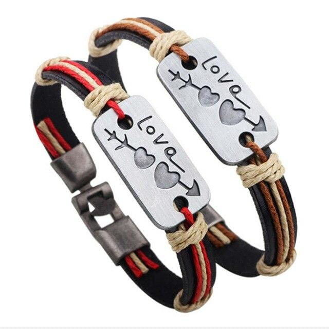 Matching leather bracelets Love