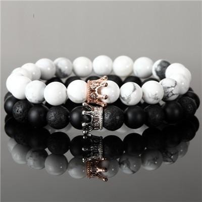 Black and white matching couple bracelet