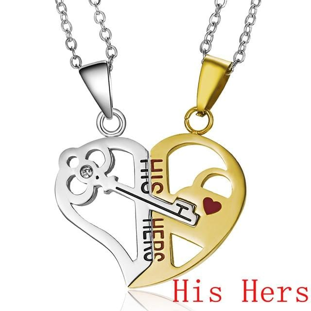 Couple Necklace Broken Heart 2 pcs Key Locket Dad Mom Love you Pendant Necklace Double Color Friends Family Lovers Jewelry Gift