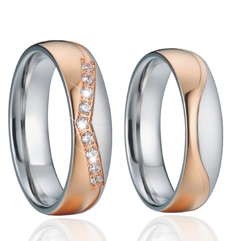 Titanium couple matching rings with cubic zirconia
