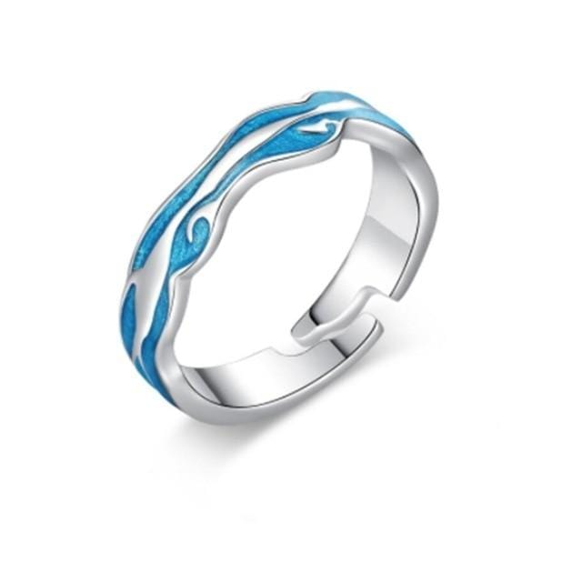 925 sterling silver Romantic couple rings blue