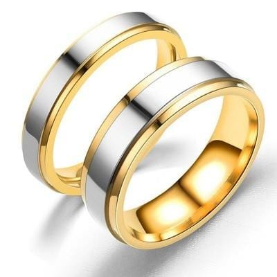 Simple matching rings color grey and gold wedding bands