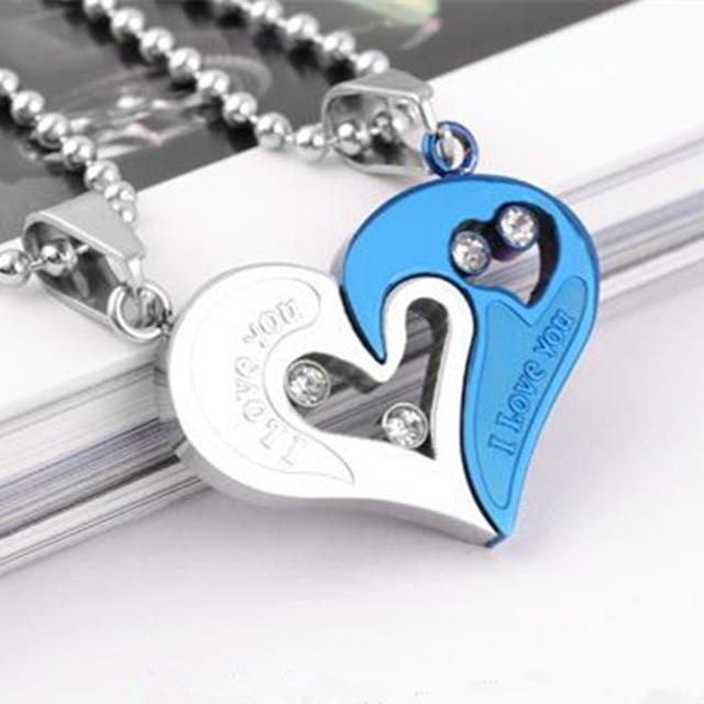 Mens Womens Couple Necklac Love Heart Stitching Pendant Puzzle Matching Two Halves Heart for Lovers Memorial Day Gift 2PCS