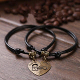 Vintage Couple Bracelets Romantic Fashion Black Rope Chain Bracelets Stitching Heart Lovers Engagement  Jewelry