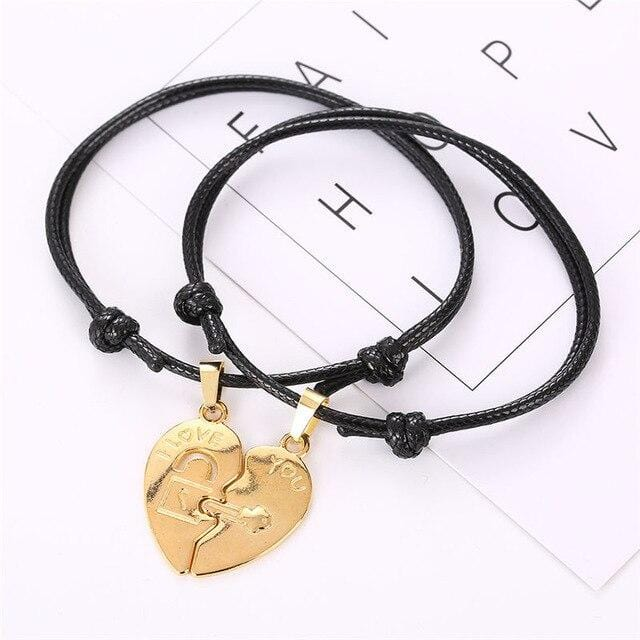 Relationship bracelets Two pieces heart