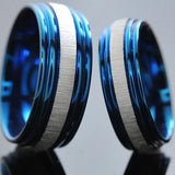 Couple wedding ring color blue and silver