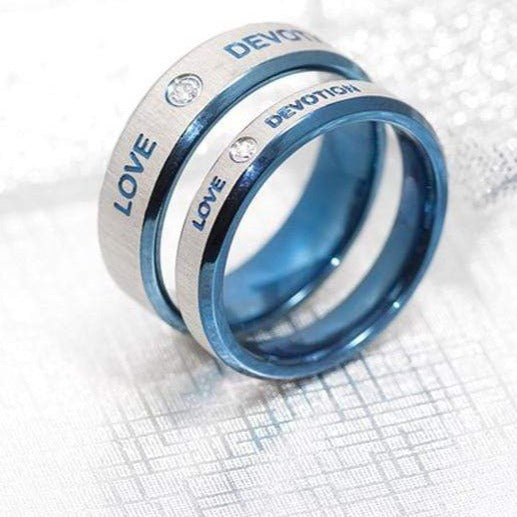 Matching rings Love Blue and Grey color