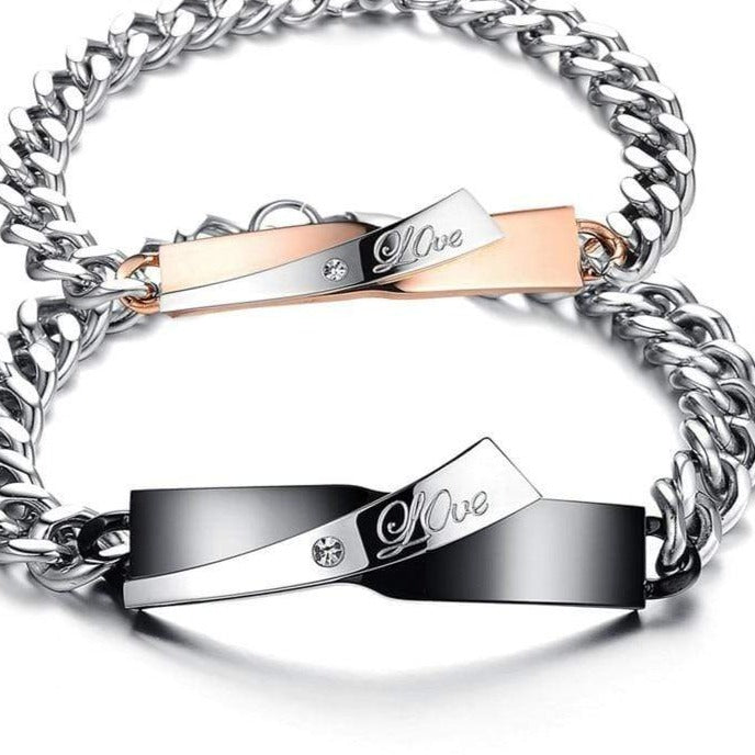 Couple engraved bracelets Love