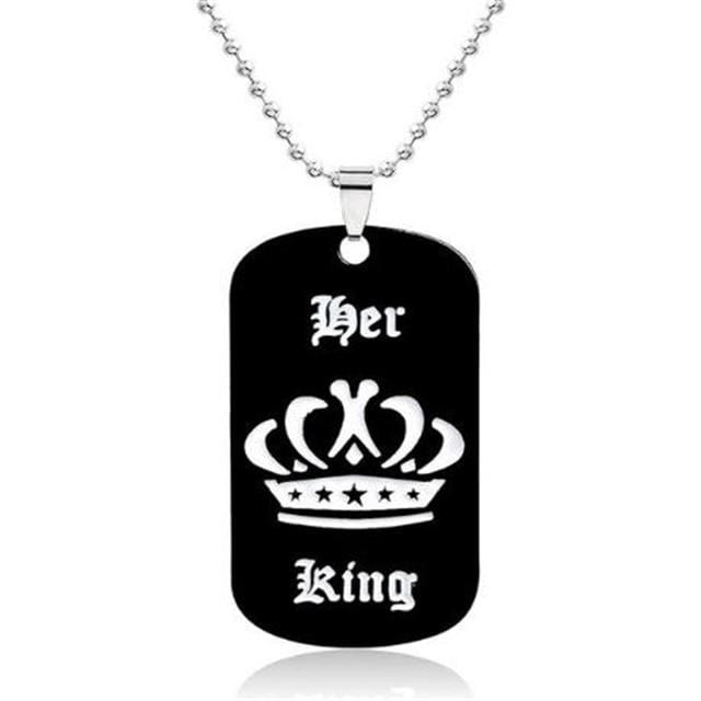 Jewelry popular her king his queen engraved letters black dog label necklace couple Valentine's Day gift wholesale