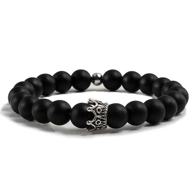 Matching king and queen crown yoga bracelets for couple