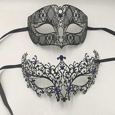 Couple masquerade masks for mardi gras