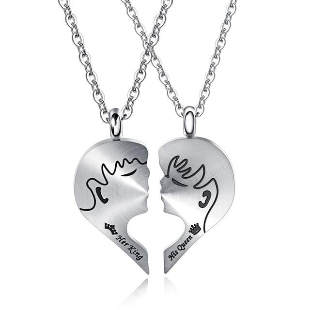 Couple heart necklace Kiss Couple