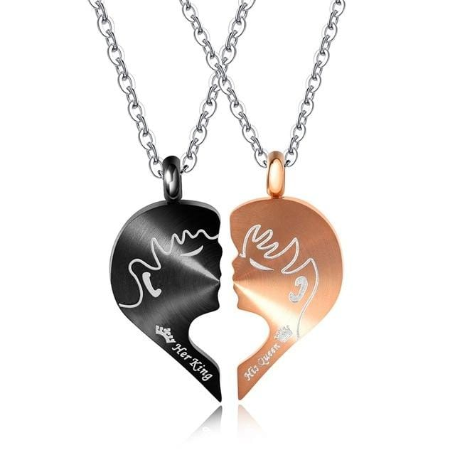 His And Hers Heart Necklace | Couple Matching