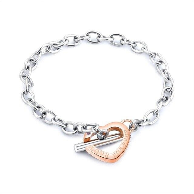 Unique bracelet for couple with heart Rose gold color