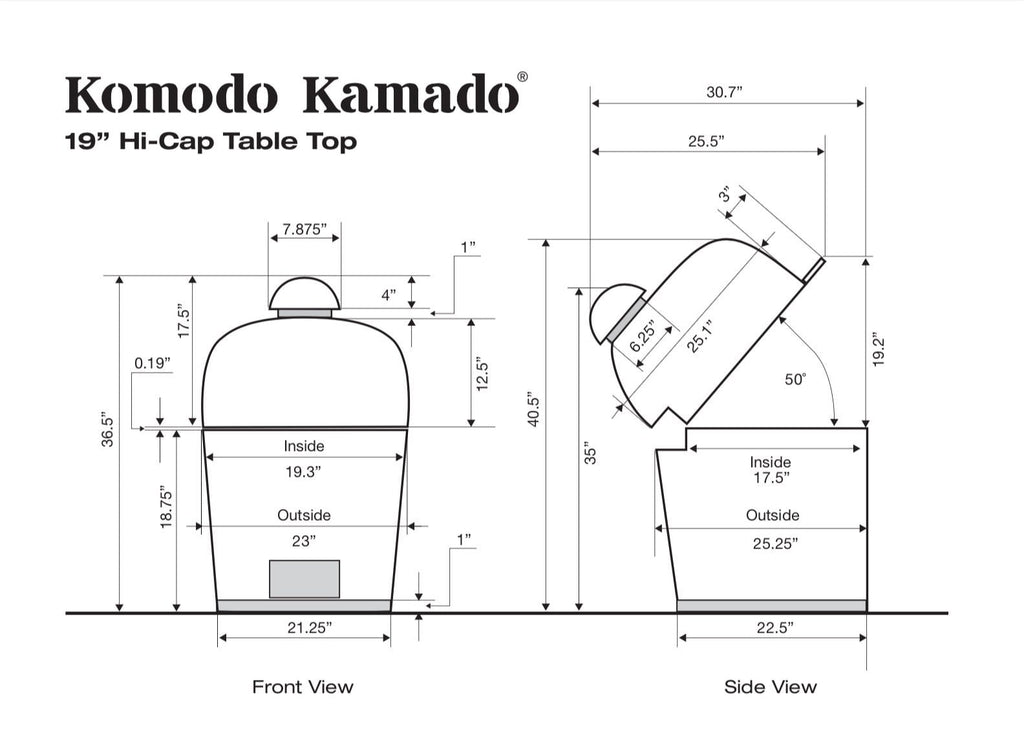 "19"" Hi-Cap Table Top, CAD Drawing - KomodoKamado"