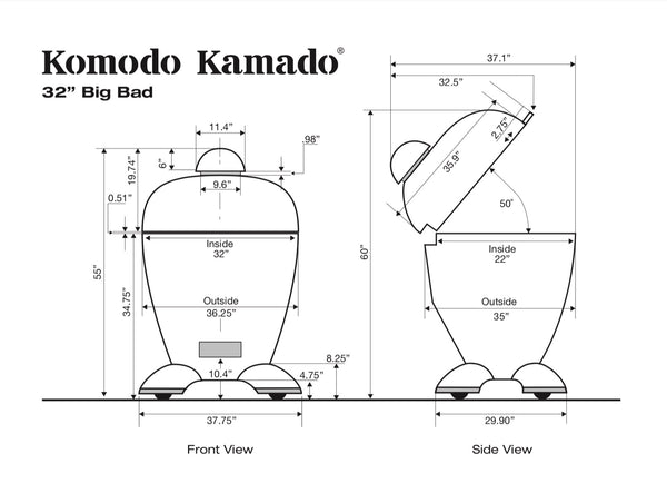"32"" Big Bad, CAD Drawing - KomodoKamado"