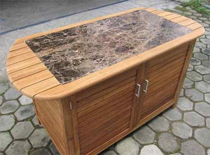 "Ex-Large Teak workstation - 2 doors  ""without"" granite top - KomodoKamado"