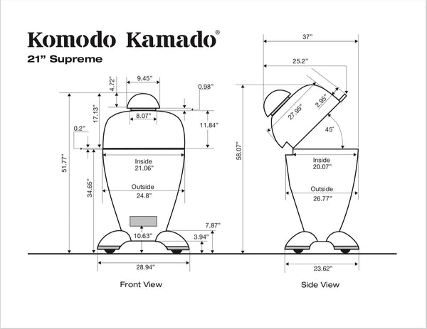 "21"" Supreme, CAD Drawing - KomodoKamado"