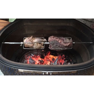 "42"" Serious Big Bad 1/2"" SS Rotisserie Spit w/ Center and outside Forks - KomodoKamado"