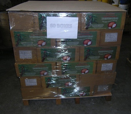 Coconut Shell Charcoal ~ 60 boxes – 1,240 lbs on palette- Contact KK for shipping