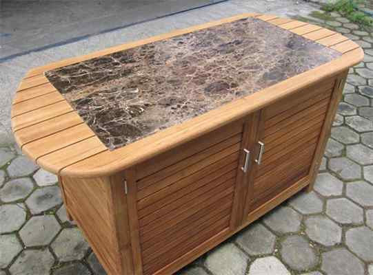 Ex-Large Teak workstation- 2 doors  with Granite top