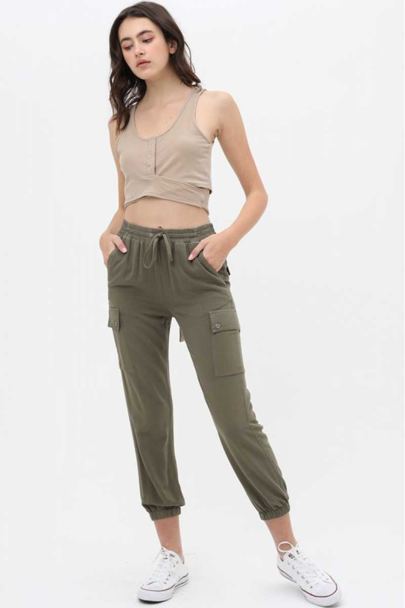 Olive Cargo Pocket Trousers