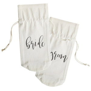 Bride and Groom Cotton Canvas Wine Bag 2-Pack