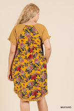 Load image into Gallery viewer, Short Sleeve Round Neck Dress With Floral Print Back And High Low Scoop Ruffle Hem