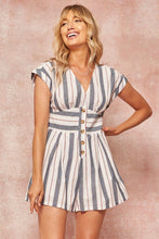 Load image into Gallery viewer, A Striped Woven Romper