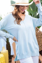 Load image into Gallery viewer, V Neck 3/4 Sleeve Side Slit Hi-lo Sweater