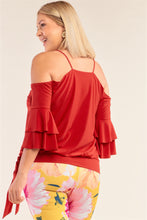 Load image into Gallery viewer, Plus Size Red Sleeveless Off-the-shoulder Layered Angel Sleeve Self-tie Hem Top