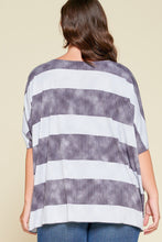 Load image into Gallery viewer, Stripe Printed Pleated Blouse Featuring A Boat Neckline And 1/2 Sleeves