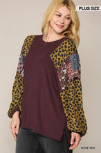 Load image into Gallery viewer, Animal And Paisley Print Mixed Tunic Top With Side Slit