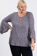 Load image into Gallery viewer, Front Keyhole 2tone Rib Fabric 3/4 Bell Sleeve Top