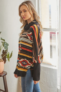 Tribal Patterned Mockneck Longsleeve Top
