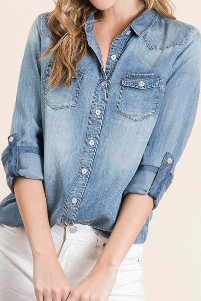 Roll Up Sleeve Denim Top
