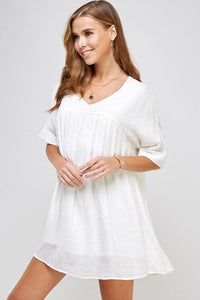 Empire Line White Summer Dress