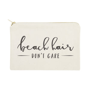 Beach Hair Don't Care Cotton Canvas Cosmetic Bag