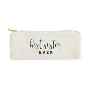 Best Sister Ever Cotton Canvas Pencil Case and Travel Pouch