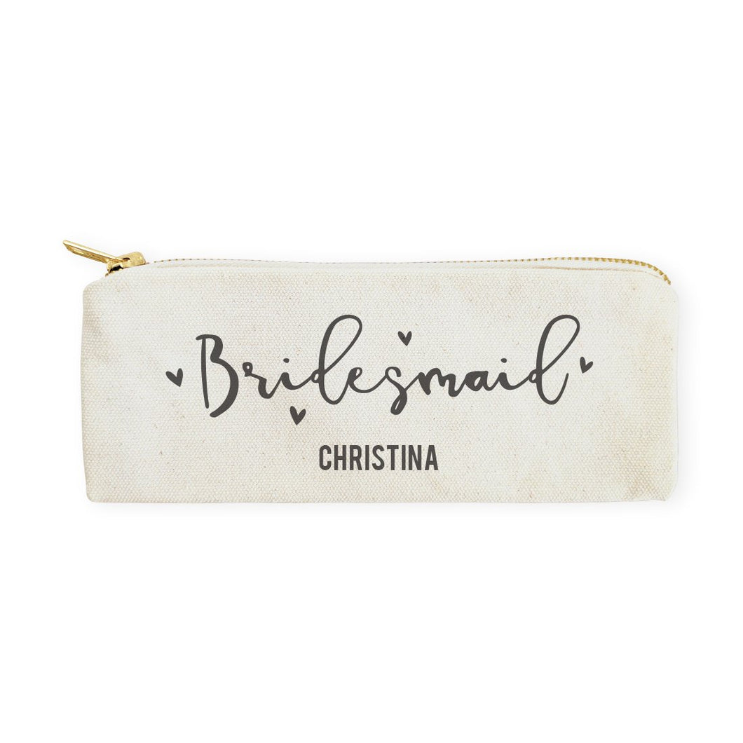 Bridesmaid Personalized Cotton Canvas Pencil Case and Travel Pouch
