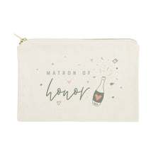 Load image into Gallery viewer, Champagne Bottle Matron of Honor Cotton Canvas Cosmetic Bag