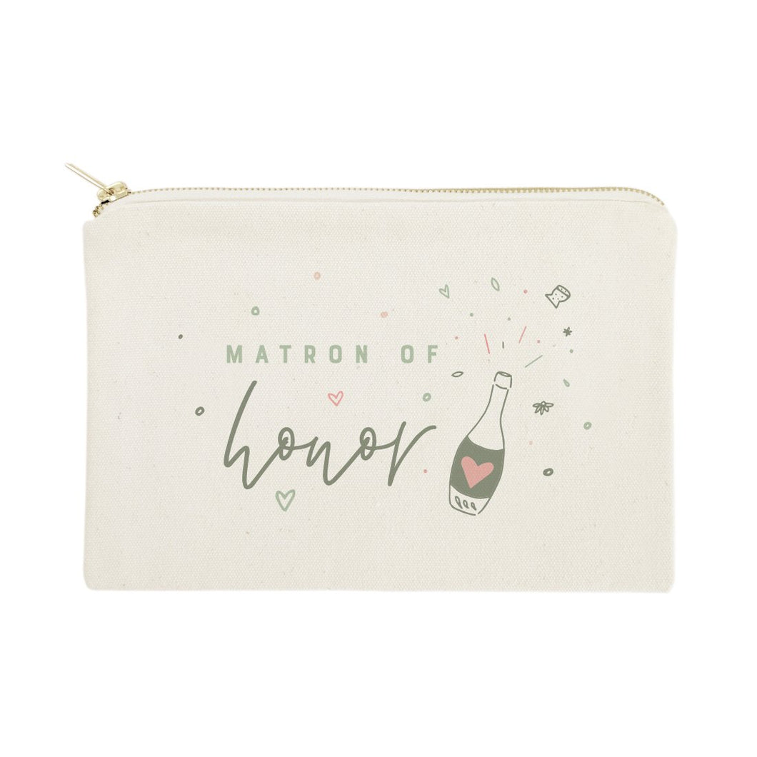 Champagne Bottle Matron of Honor Cotton Canvas Cosmetic Bag