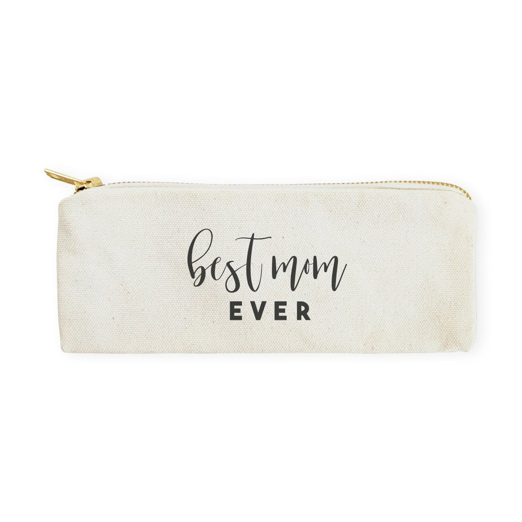 Best Mom Ever Cotton Canvas Pencil Case and Travel Pouch