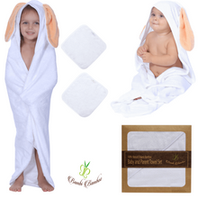 Load image into Gallery viewer, Bamboo Baby Hooded Towel Amber Bunny