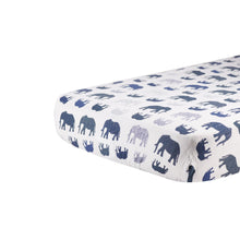 Load image into Gallery viewer, Blue Elephants Crib Sheet by Newcastle Classics