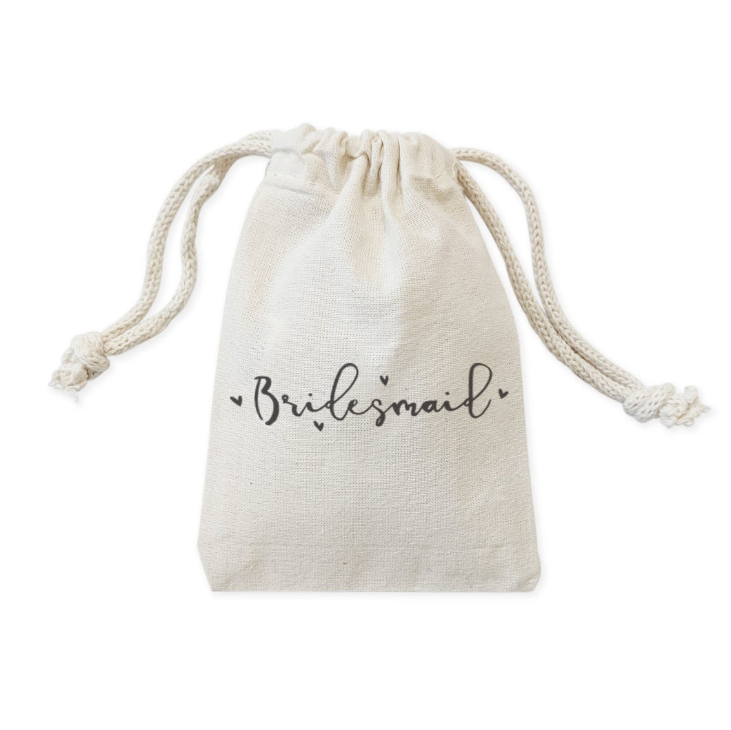 Bridesmaid  Cotton Canvas Wedding Favor Bags, 6-Pack