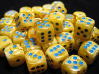 Chessex Dice - 12mm d6 - Vortex - Yellow/Blue CHX27832