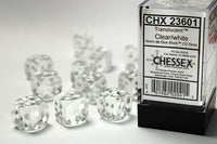 Chessex Dice - 16mm d6 - Translucent - Clear/White CHX23601