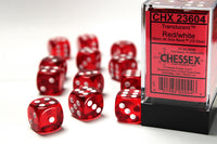 Chessex Dice - 16mm d6 - Translucent - Red/White CHX23604