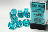 Chessex Dice - 16mm d6 - Translucent - Teal/White CHX23615